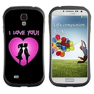 LASTONE PHONE CASE / Suave Silicona Caso Carcasa de Caucho Funda para Samsung Galaxy S4 I9500 / I love you Pink Heart