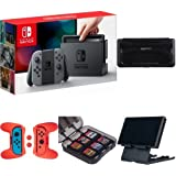 Nintendo Switch - Gray Joy-Con with Vault Case, Playstand, Game Storage Case and Grip Kit