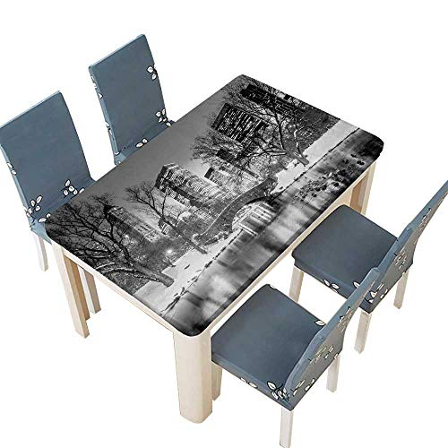 PINAFORE Table in Washable Polyeste Gapstow Bridge in Winter Central Park New York City in Black and White Banquet Wedding Party Restaurant Tablecloth W33.5 x L73 INCH (Elastic Edge) ()