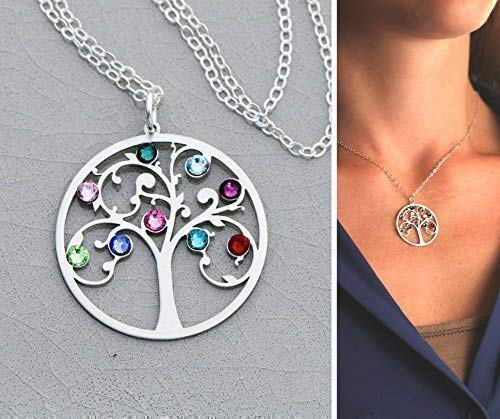 Family Tree Necklace - IBB_19 IBD - Grandma Mom Gift - 935 Sterling Silver - Tiny Swarovski Birthstone Crystal - Generation Grandchildren Kids Birth Months Colorful