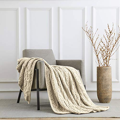 (Longhui bedding Cotton Cable Knit Sherpa Throw Blanket - Thick, Soft, Big, Cozy Beige Knitted Fleece Blankets for Couch, Sofa, Bed - Large 50