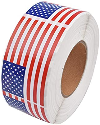 400 Sticker Count Patriotic USA Flag Sticker Roll 4 Rolls God Bless America Roll Stickers 1.5 Sticker