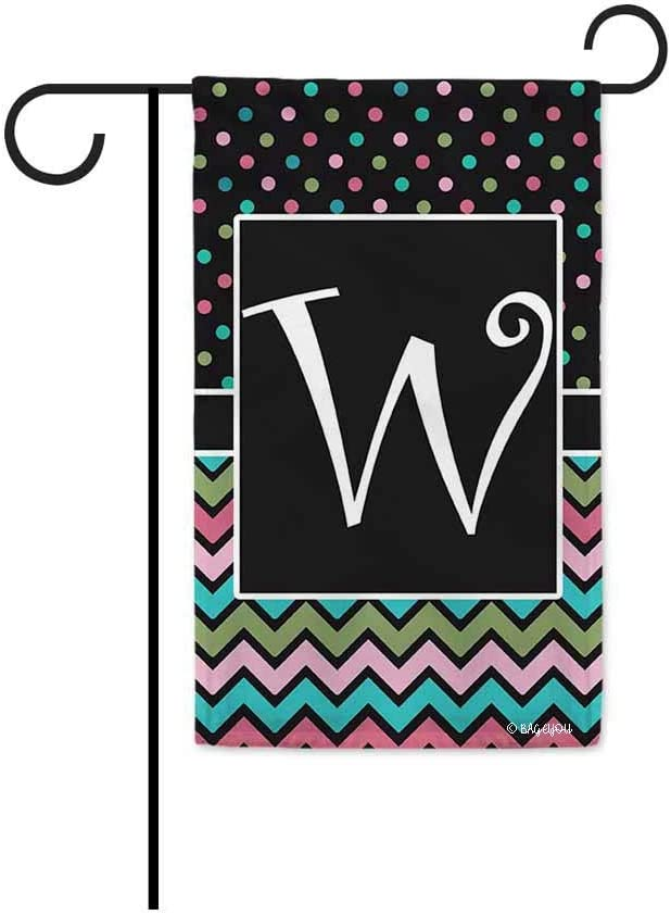 BAGEYOU Polka Dot and Stripes Monogram Initial W Decorative Garden Flag for Outdoor 12.5X18 Inch Printed Double Sided