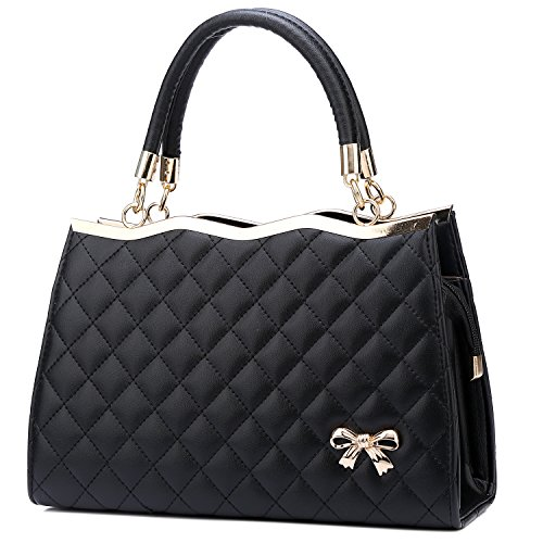 YINGPEI Women's Top Hand Handbags Black PU Leather