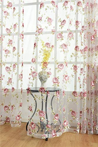 Kolachic Rod Pocket Top Rose Floral Sheer Voile Curtain, Pink Flower Tulle Transparent Window Treatment for Living Room Bedroom Glass Door, 54 by 84 Inch Each, 1 Set of 2 Panels