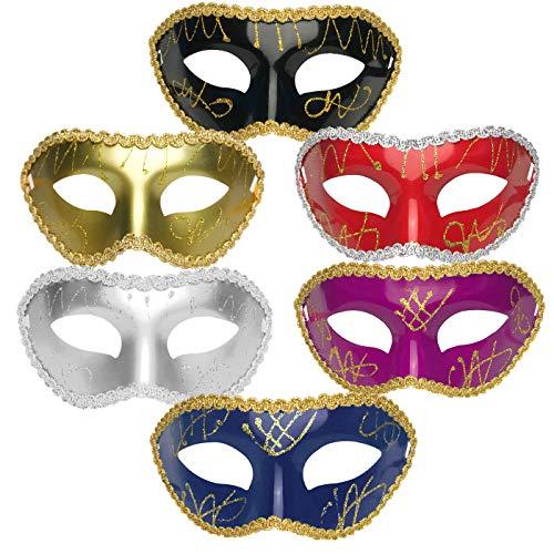 IDOXE Retro Mardi Gras Half Masquerades Venetian Masks for Men Women Gold Black Red Purple White Face Glitter Mask Halloween Costumes Party Accessory ()