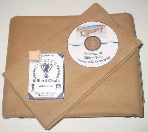8 ' ProlineクラシックPrecutキャメルPool Tableフェルト布、DVD & Cueチョーク