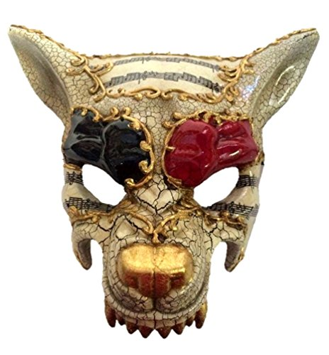Wolf Half Mask Adult Animal Dog Venetian Crackled Costume Accessory Red -