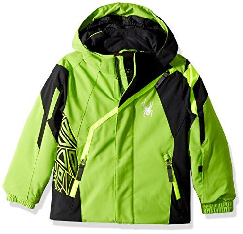 (Spyder Mini Challenger Ski Jacket, Fresh/Black/Bright Yellow, Size 4)