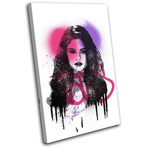 Bold Bloc Design - Selina Gomez Grunge Urban Musical 90x60cm SINGLE Canvas Art Print Box Framed Picture Wall Hanging - Hand Made In The UK - Framed And Ready To Hang