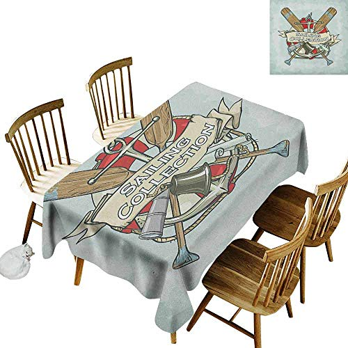 DONEECKL Nautical Colorful Tablecloth Protection Table Sailing Collection Yacht Antique Historical Icons Life Saver Oars Almond Green Multicolor W60 xL84 (Antique Yacht)