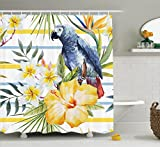 Ambesonne Parrots Decor Shower Curtain Set, Tropical Exotic Pattern with Parrot Orchids and Hibiscus Flowers Hawaiian Jungle Style Image, Bathroom Accessories, 75 inches Long, Multi