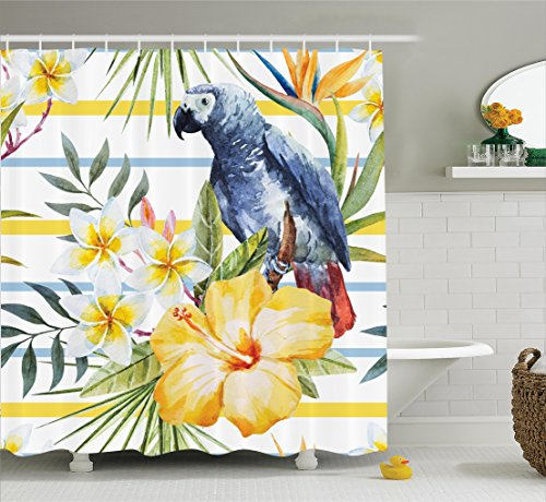 (Ambesonne Parrots Decor Shower Curtain Set, Tropical Exotic Pattern with Parrot Orchids and Hibiscus Flowers Hawaiian Jungle Style Image, Bathroom Accessories, 69W X 70L Inches, White)