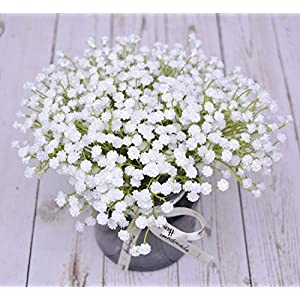 A Cup of Tea 10Pcs Modern Décor Babys Breath Artificial Flowers White Gypsophila 7.9'' Home Kitchen Wedding Garland Wreath Decoration Spring Fall Flores Artificiales para Decor Real Touch Faux Floral 18