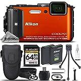 Nikon COOLPIX AW130 Waterproof Digital Camera (ORANGE) + 64GB SDHC CLASS 10 MEMORY CARD + Backup Battery + Card Reader + Mini Tripod + Case. All Original Accessories Included - International Version