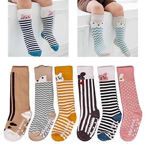 LAISOR 6 Pack Baby Girls Boys Knee High Socks Toddler Non Skid Cotton Socks (A-6 Pack, M(2-4 Years))