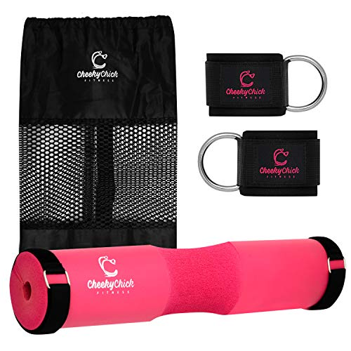 Barbell Squat Pad for Women & Pair of Gym Ankle Straps for Cable Machines - Pink Hip Thrust Squat Sponge & 2 Leg Kickback Straps Gym Bundle - Fitness Gift Accessories with Velcro Straps & Carry Bag