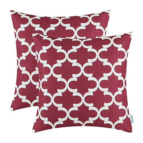 CaliTime Pack of 2 Soft Canvas Throw Pillow Covers Cases for Couch Sofa Home Decor Modern Quatrefoil Accent Geometric 18 X 18 Inches Burgundy (For Pillows Red Sale Couch)