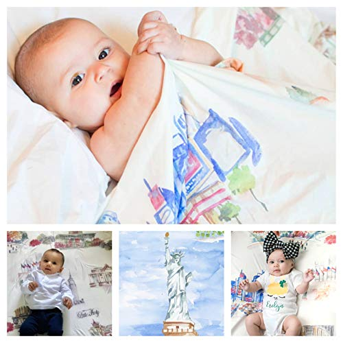 Large Baby Swaddle Blanket New York Ultra Soft Stretchy for Swaddling Boy Girl Newborn