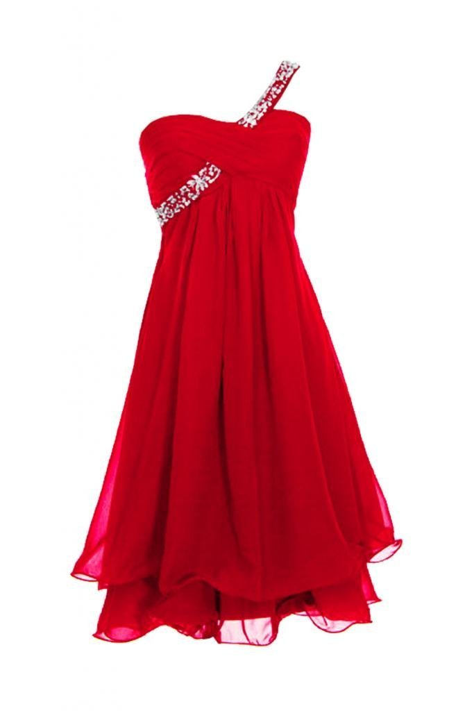 KAY&LAYLA Women's Beaded One-Shoulder Gown 2015 Short Homecoming Gown Red Size 14