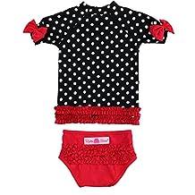 RuffleButts Infant / Toddler Girls Red & Black Polka Dot Ruffled Rash Guard Bikini