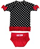 RuffleButts Baby/Toddler Girls Rash Guard 2-Piece Swimsuit Set - Black and White Polka Dot Bikini UPF 50+ Sun Protection - 12-18m