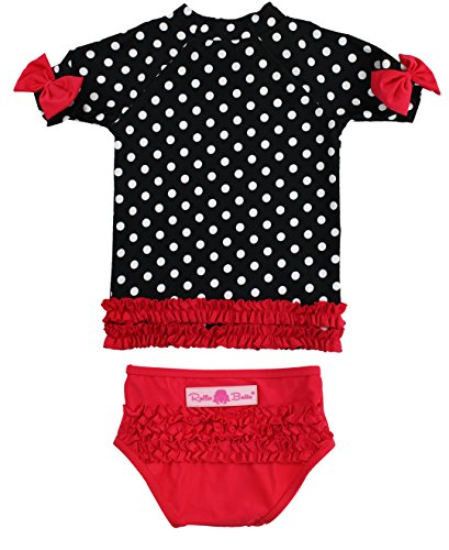 RuffleButts Baby/Toddler Girls Rash Guard 2-Piece Swimsuit Set - Black and White Polka Dot Bikini UPF 50+ Sun Protection - 6-12m