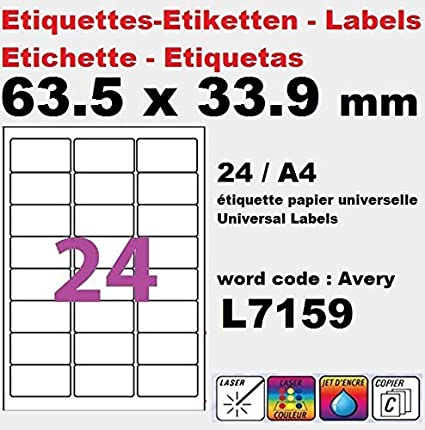 20 A4 hoja de etiqueta de papel etiqueta adhesiva 24 63,5 x ...