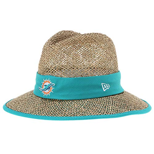 Men's New Era Miami Dolphins Natural On Field Training Camp Hat Straw Size One Size - Miami Dolphins Training Camp