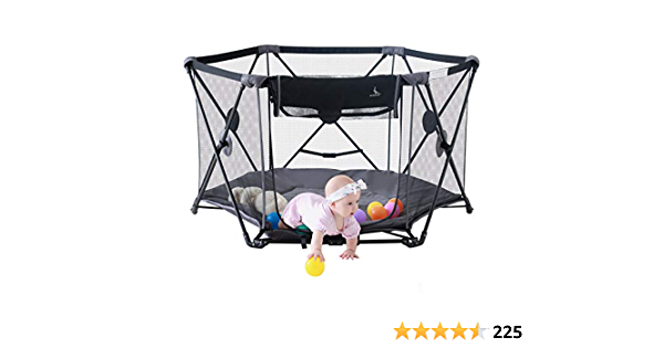 """LuckyDove Portable Playard for Innfants and Toddlers,Folding Play Pen for Babies with Carrying Bag and Mattress ,Washable,Foldable,6 Panel,Open Whtin Seconds 53"""" Wx 30"""" H (Gray)"""