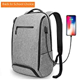 Back to school,Backpack REYLEO,Laptop Backpack for Men&Woman Fits 15.6 Inch Laptop, with Shoe Compartment, External USB Charging Port, Water Resistant,for Travel Business Trip Work School College Gray