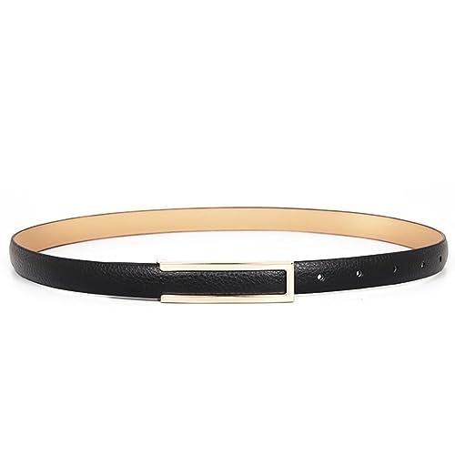 [piccola cintura in pelle nera selvaggia] Moda fibbie liscio semplice amicone e wild little black belt-D 102cm(40inch)