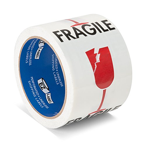 TapeCase EZLabel Shipping Labels (Multiple Sizes), EZLabel-blanco-045-500, Blanco, Fragile (Shattered Glass Graphic)