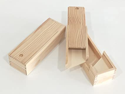 Caja plumier doble. En madera de pino en crudo. Para decorar. Manualidades. Medidas (ancho*fondo*alto): 23 * 7,5 * 5,5 cm.