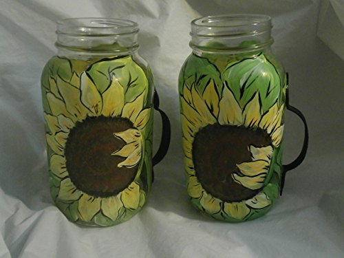 - Hand painted pretty sunflower handled quart mug. set of 2.