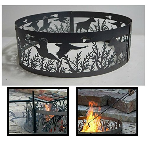 - PD Metals Steel Campfire Fire Ring Dog N' Pheasants Design - Unpainted - with Fire Poker and Cooking Grill - Large 48 d x 12 h Plus Free eGuide