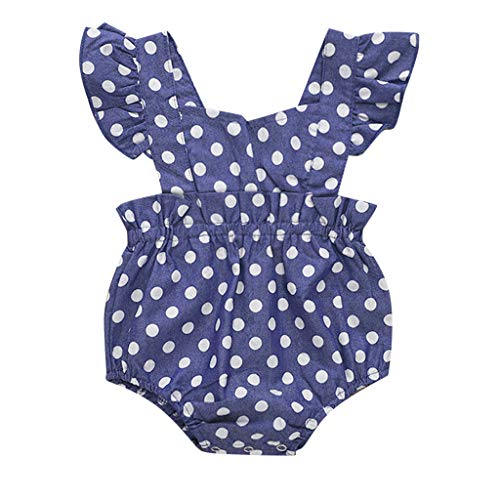 - Summer Kids Girls Playsuit Ruffle Sleeve Casual Dot Print Romper Jumpsuit Clothes (Blue, Recommend Age:12-18 Months)