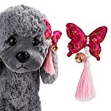 Hisoul Pet Hair Band Super Cute Butterfly Bow Hair Band Decoration Accessories for Dogs Cats Holiday Party Christmas Cosplay Party Gift ( Red)