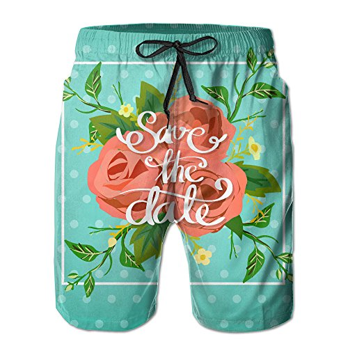 Zxm Men's Wedding Save The Date Summer Short Beaches Quick Dry Swim Casual Board Shorts by Zxm