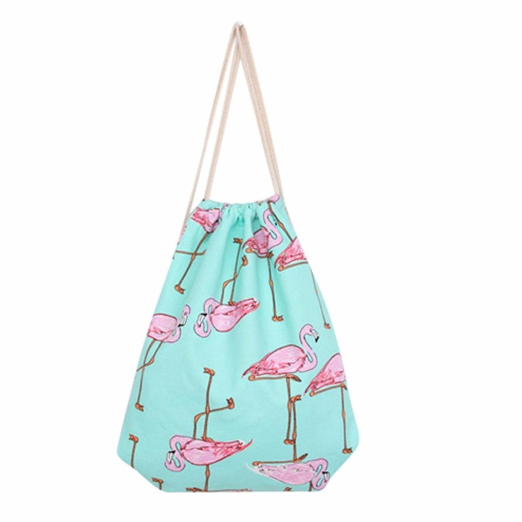 2018 Flamingos Drawstring Beam Port Backpack Shopping Bag Travel Bag for Women by TOPUNDER by Bags for women Topunder (Image #1)