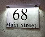 ThedisplayDeal LED illuminated Modern House Numbers Address Plaque, 8''x5''x1'' Size Rectangle Clear Acrylic and Brushed Aluminum Background Double Panel (Rectangular Clear Acrylic-LED)