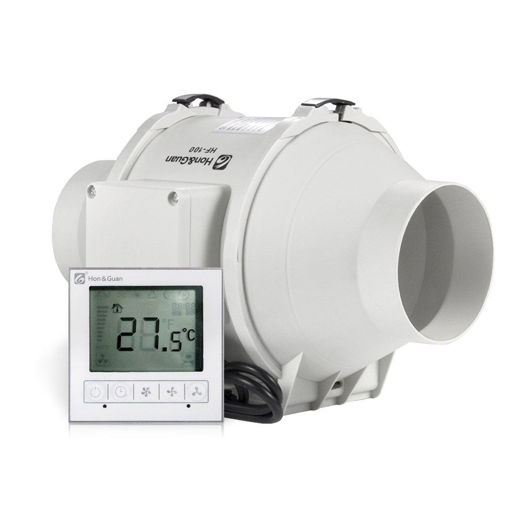 Hon&Guan 200mm Rohrventilator Abluftventilator Timer mit Intelligenter Schalter fü r Zimmer Bad Kü che - Drei Geschwindigkeit (Ø 200mm)