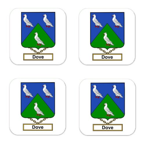 Dove Family Crest Square Coasters Coat of Arms Coasters - Set of 4