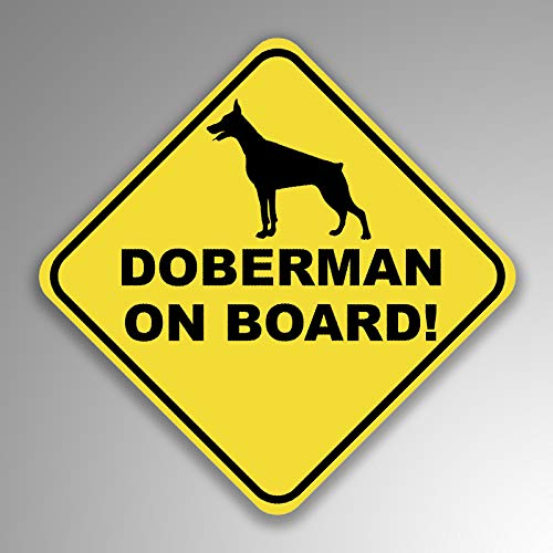 JMM Industries Doberman On Board Vinyl Decal Sticker Car Window Bumper 2-Pack 4-Inches by 4-Inches Premium Quality UV Protective Laminate - Window Alert Decals Pet
