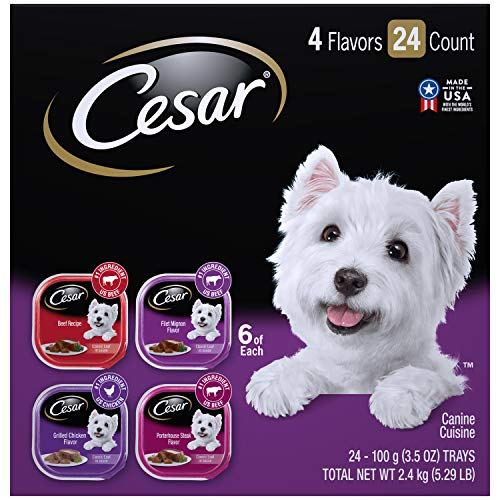 CESAR Soft Wet Dog Food Classic Loaf in Sauce Beef Recipe, Filet Mignon, Grilled Chicken and Porterhouse Steak Variety Pack, (24) 3.5 oz. Easy Peel Trays