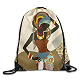 African Art Women Unisex Home Rucksack Shoulder Bag Sport Drawstring Backpack Bag