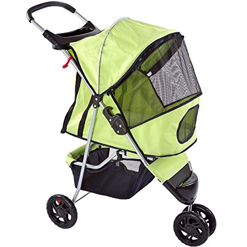 Discount Ramps Green Pampered Pet Jogging Stroller for Small Dogs and Cats