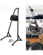 """HTTMT 20"""" Tall Sissy Bar For 2004-2017 Harley Sportster Nightster Iron 883 1200 Backrest Detachable Back Rest Pad With Reflector Gloss Black [P/N:SBB016]"""