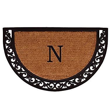 Home & More 100101830N Ornate Scroll Doormat, 18  x 30  x 1 , Monogrammed Letter N, Natural/Black