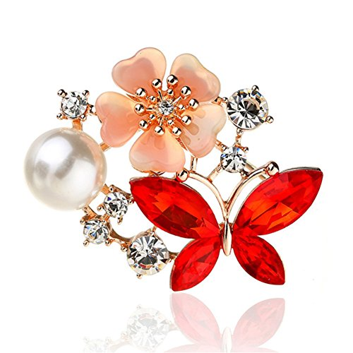 Lucky Flower Butterfly Crystal Rhinestone Pearl Charms Brooch Pins for Women (Red) Butterfly Ruby Brooch
